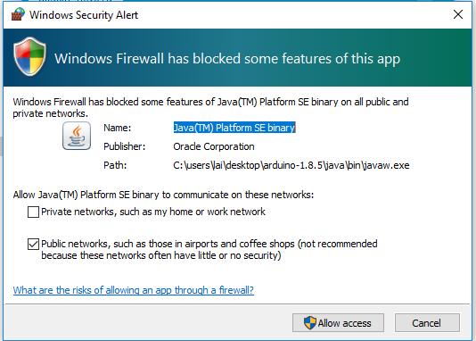 Windows Firewall asking permission for Arduino IDE