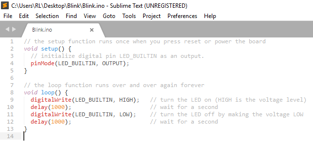 Sublime Text C++ Syntax Highlight of the Blink .ino Code
