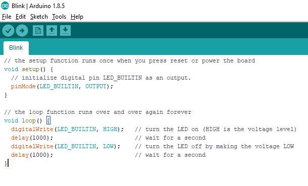 Modified version of the Blink code in Arduino IDE