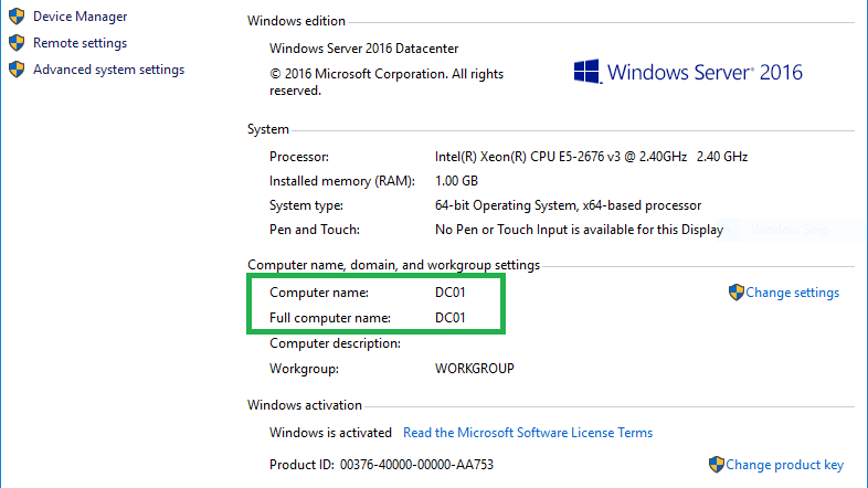 Changing the Computer Name of Windows Server 2016